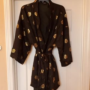 Royal Silk Black Kimono Sz L
